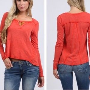 Free People Coral Beaded Long-Sleeve Top Small EUC